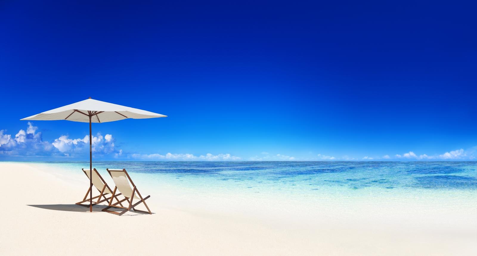 Deck chair on the tropical beach.